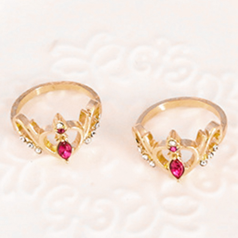 Anime Sailor Moon Crown Pendant Ring Finger Ring  Cartoon Cosplay Jewelry Gift