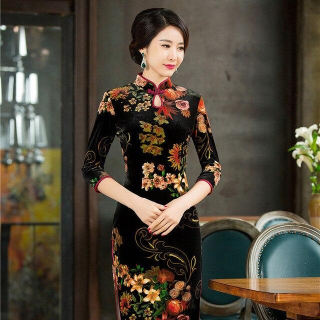 321706101c9 Chinese Traditional Women Velvet Sexy Dresses Mandarin Collar Print Flower  Slim Qipao Lady Elegant Cheongsam Plus