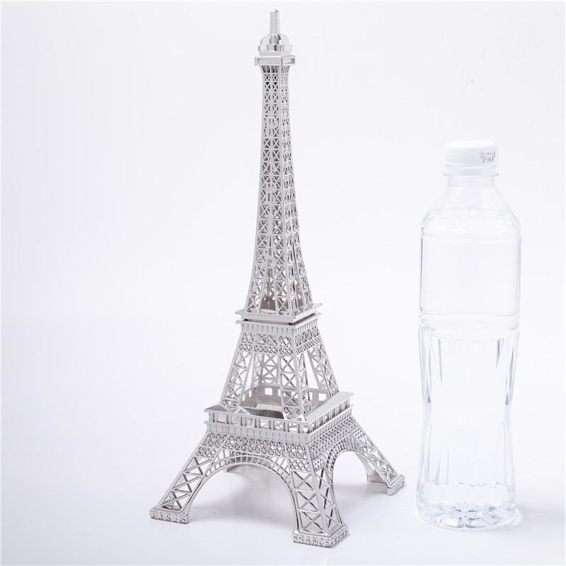 Cake Topper Decorative Wine Cabinet Silver  Eiffel Tower Decor Zinc Alloy Home Decoration Improvement Five Sizes