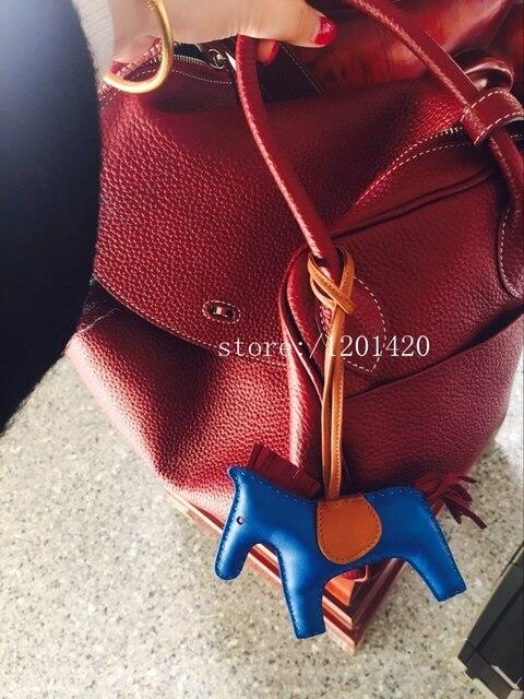 Оптовая продажа реальной кожи ягненка лошадь сумку очарование ручной роскошь брелок роскошный мешок ошибка рюкзак шарм кожа цепи аксессуары