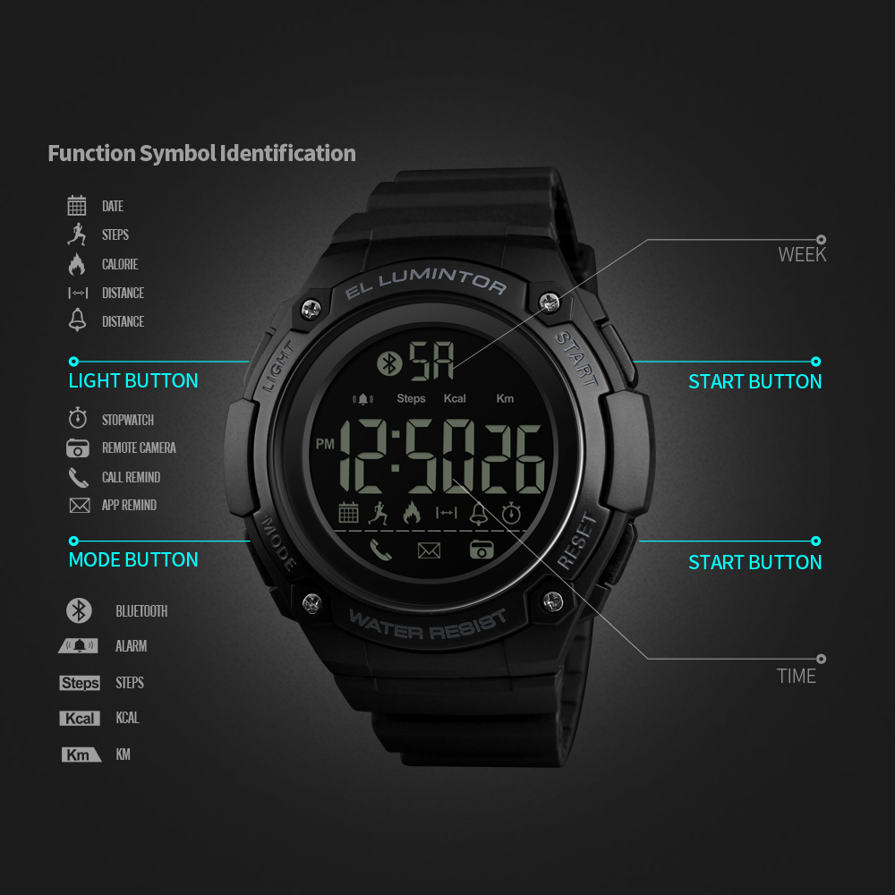 Humorous Skmei Fashion Multifunction Digital Watch Waterproof Outdoor Sports Watches Men Compass Countdown Alarm Led Wristwatches 100% High Quality Materials Digital Watches Watches