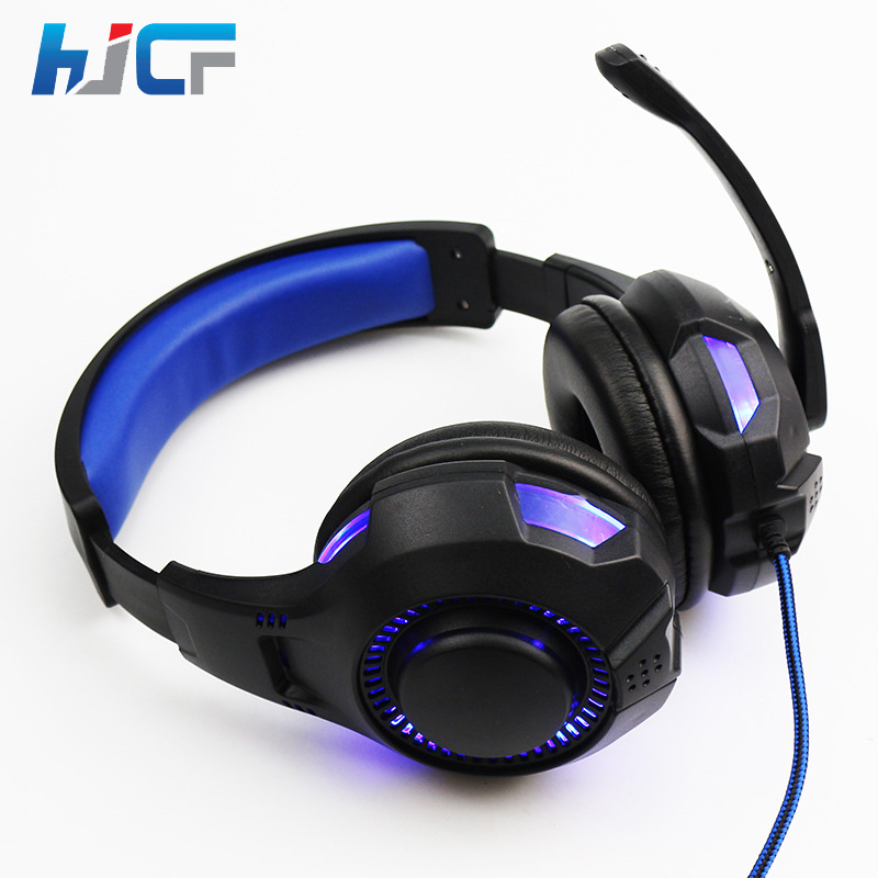 Original HJCF Gaming Headset Over Ear Headphones With Microphone Noise Cancanceling LED Light For Computer Gamer SY885 super bass gaming headphones with light big over ear led headphone usb with microphone phone wired game headset for computer pc