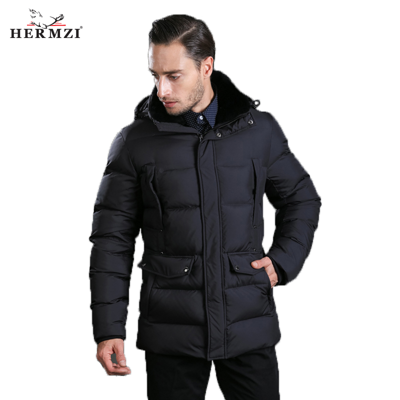 2018 Winter Men s Hooded Cotton Trend Cotton Pad Bf Wind Thick Coat Solid Color Large