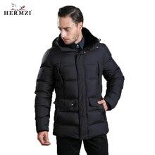 HERMZI 2019 New Winter Jackets Men Padded Jacket Coat Cotton Black Rex Rabbit Fur Collar European Size Free Shipping
