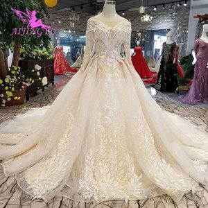 Image 4 - AIJINGYU Wedding Gown Lace Gowns Vintage Pakistani Finland Ball Luxury 2021 2020 Real Cathedral Dress Pakistani Wedding Dresses