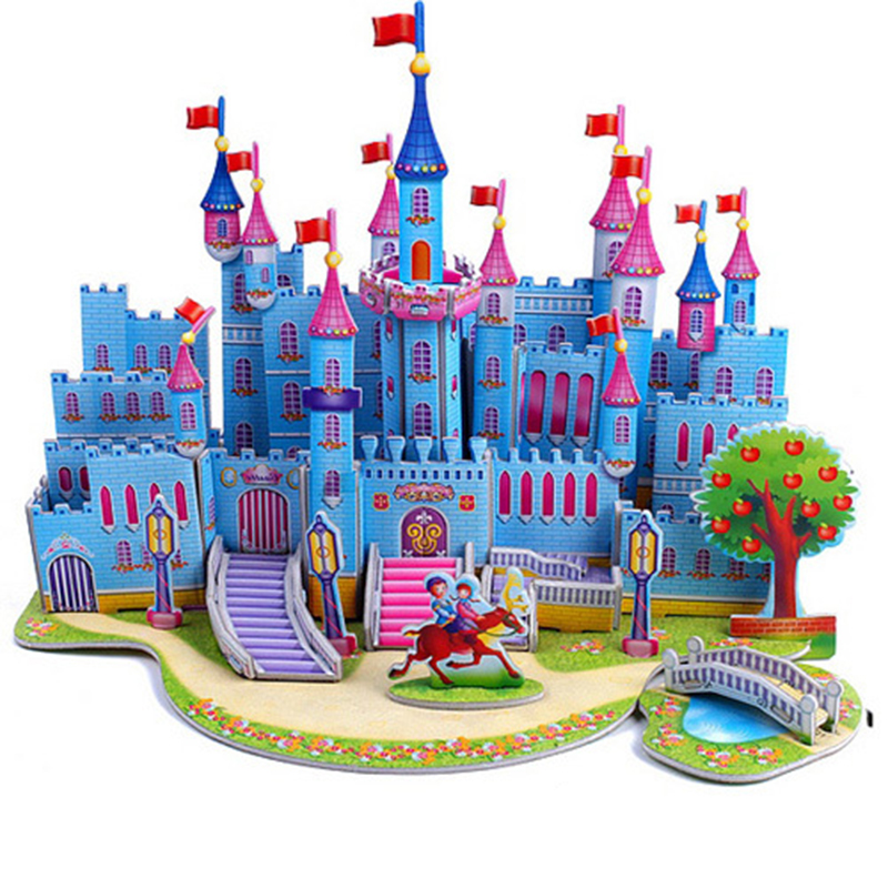 3D DIY Jigsaw Puzzle Learning Education Toy Castle Construction Pattern For Children Houses Puzzle Models Building Toy