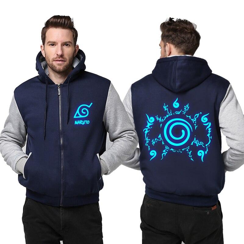 Unisex Anime Naruto Akatsuki Cosplay Luminous Thicken Hoodie Coat Jacket Sweatshirts