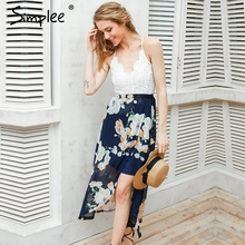 Simplee Sexy print lace summer dress Strap deep v neck high waist beach dresses women 2017 new slit backless long dress