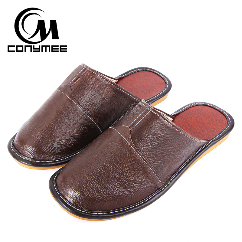 CONYMEE 2018 Men Home Indoor Slippers Mens Genuine Leather Flat Shoes Pantufas Non-slip Oxford Sneakers Sandals Floor Slipper xiuteng 2017 summer leather men slippers home indoor flat with shoes european high grade non slip floor sandals for men