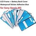 5 unids/lote LCD Frame + 5 unids Caso de la Cubierta de Batería de Respaldo Trasero impermeable etiqueta engomada del pegamento adhesivo para sony xperia m5 pegatinas partes reparación