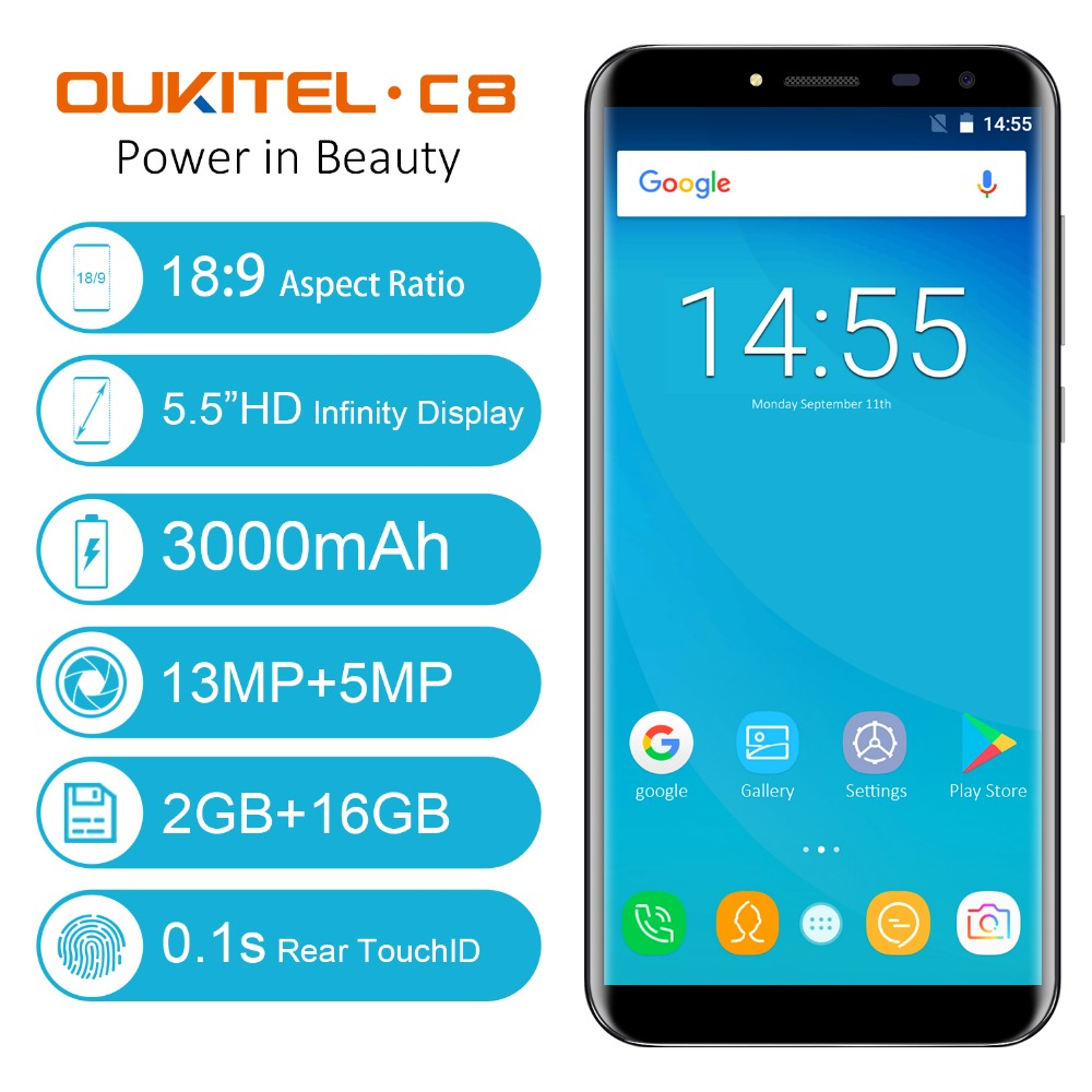 Oukitel-C8-55-Inch-189-HD-Screen-Mobile-Phone-MTK6580A-Quad-Core-2GB-RAM-16GB-ROM-13MP-Android-70-3000mAh-Touch-ID-Cellphone-1