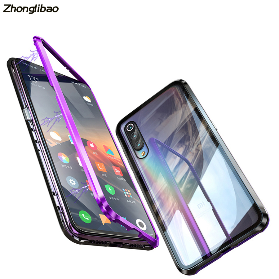Original Luxury Magnet Metal Frame Transparent Tempered Glass Cover for Xiaomi 9 Magnetic Adsorption Protection Sleeve image