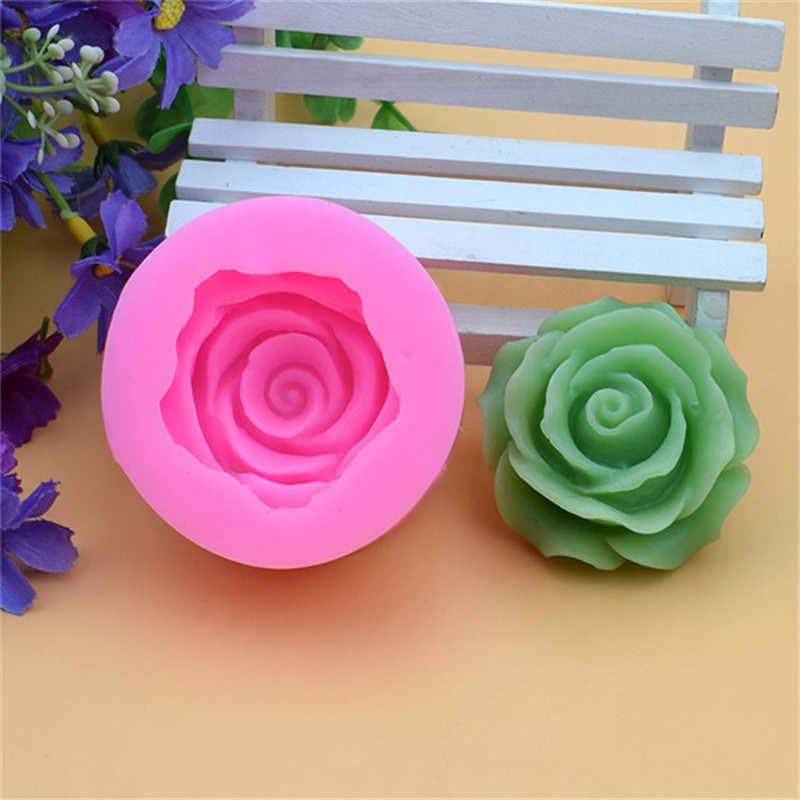 3D Flower Bloom Rose Form Fondant Silicone Soap Cake Mold Cupcake Candy Chocolate Cake Decoration Tool Baking Lace Moulds