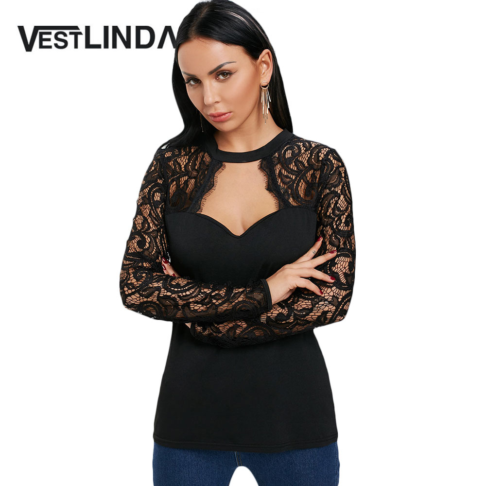 VESTLINDA   Blouses   Women Casual New Fashion Keyhole Neck Long Sleeve Lace Panel Cut Out   Blouse     Shirt   Womens Tops Black Blusas