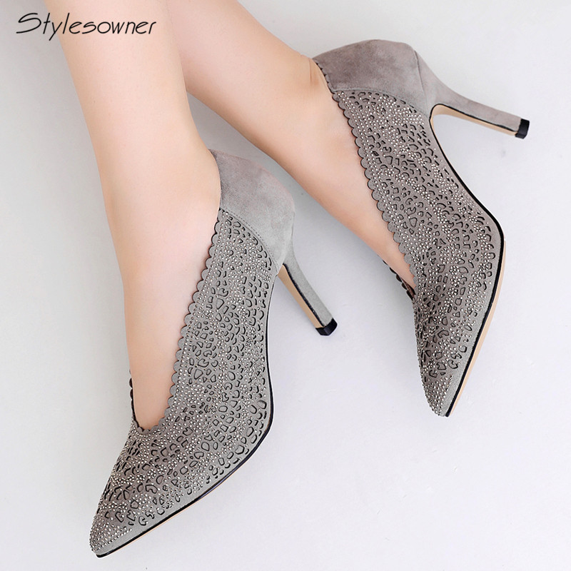 Stylesowner Suede Bling High Heel Women Pumps Slip On Heels Shoes Name Brand Thin Heels Zapatos Mujer Casual Fashion 2018 Pumps sweet women high quality bowtie pointed toe flock flat shoes women casual summer ladies slip on casual zapatos mujer bt123