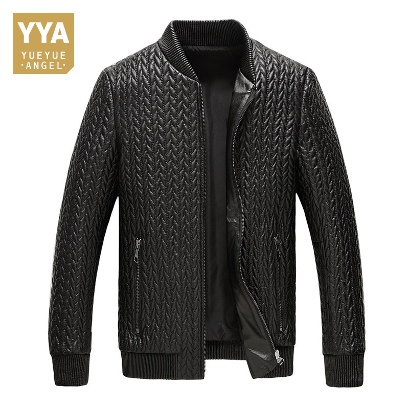 Winter Warm Cotton Liner Mens Bomber Jacket Stand Collar Zipper Business Casual Slim Fit Genuine Leather Suit Coat Male Outwear