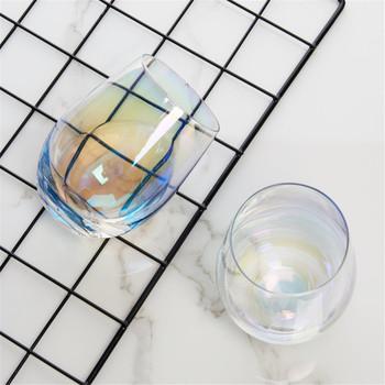 Luksusowy Lead-darmowe tęczowe szkło kubek śniadanie herbata mleczna kawy sok kubek wina kryształ przezroczyste szkło kubek biurowy gospodarstwa domowego 1 sztuk tanie i dobre opinie E-SHOW CN (pochodzenie) ROUND Wielu kolor Ekologiczne Glass Cup Lead-free rainbow glass cup Lead-free Glass Transparent