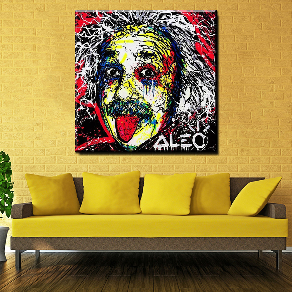 ZZ217 Canvas Oil Painting Alec Monopoly AlbertEinstein Arts Poster Living Room Decoration Street Art Prints
