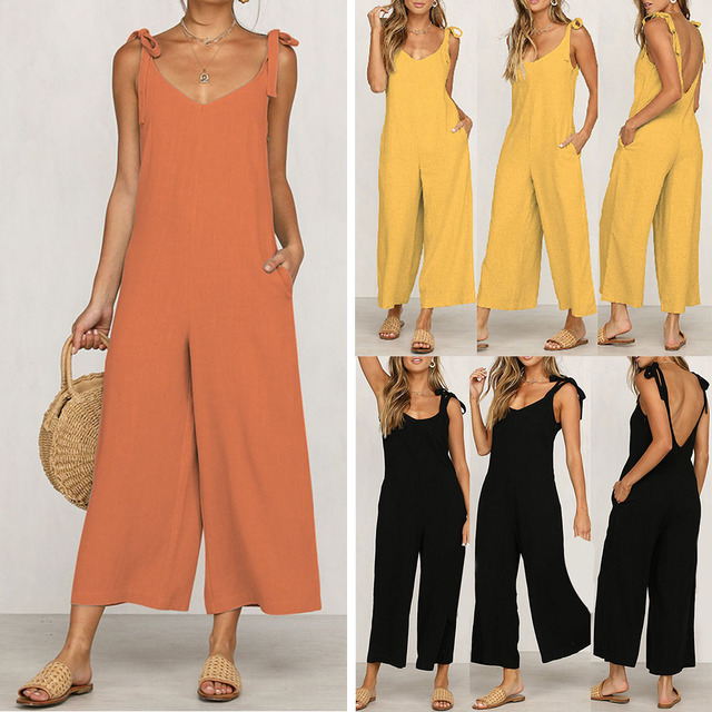 Sexy Solid Backless jumpsuits women V neck spaghetti strap long overalls Summer beach loose female jumpsuit 2019 4