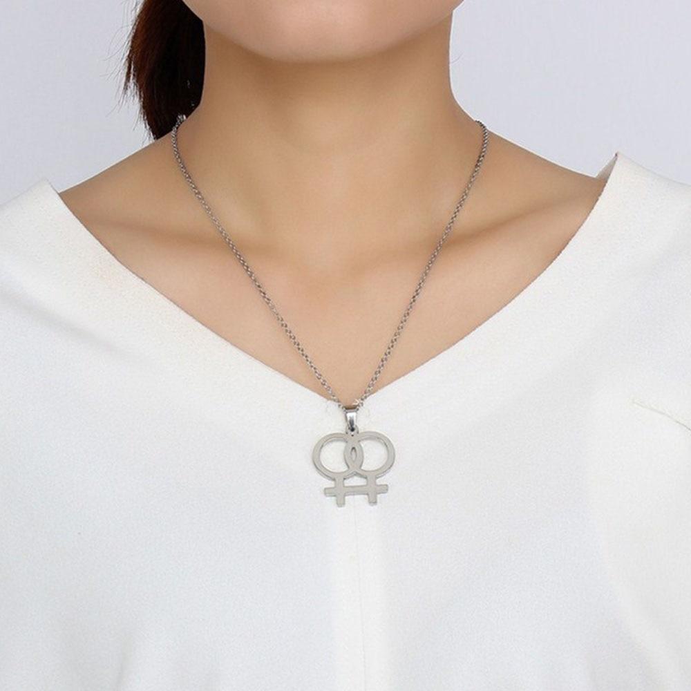 New Unique Women Homosexual Pride Pendant Necklace Lesbian Double Female Symbol