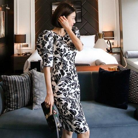 Women Office Lady Dresses  Bodycon Short Sleeve 2019 Summer Slim Vintage Elegant Dress Lahore