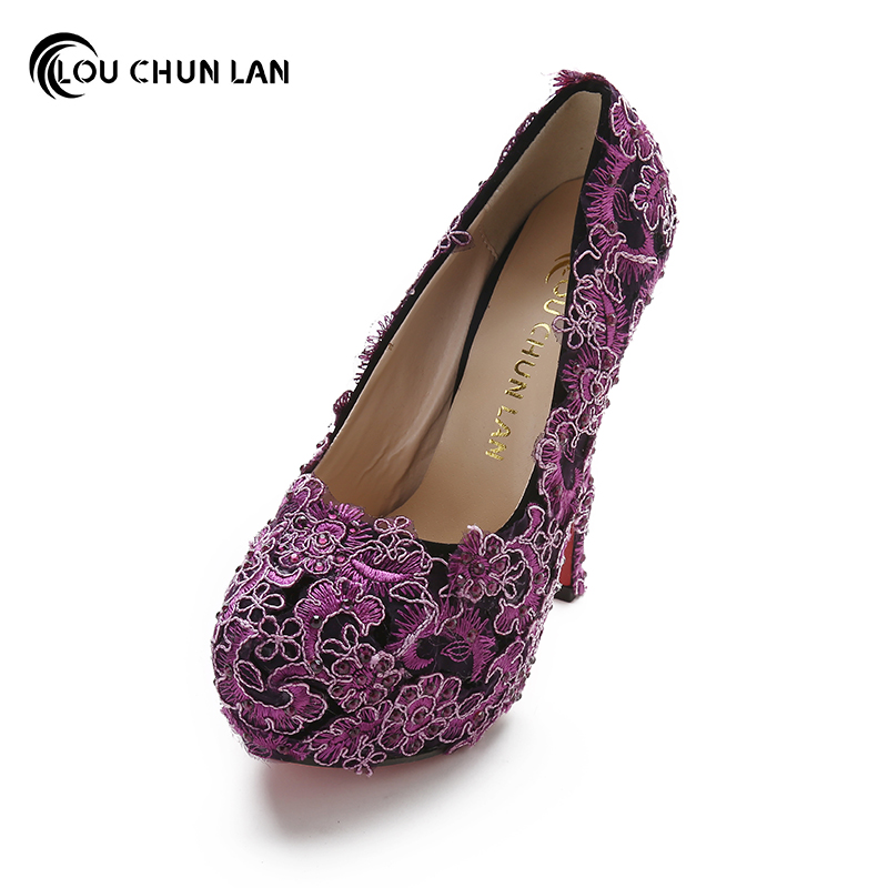 LOUCHUNLAN Women Pumps purple lace Shoes High Heels Wedding Shoes Elegant fashion Round Toe Shoes Free Shipping Party shoes siketu 2017 free shipping spring and autumn women shoes fashion high heels shoes wedding shoes sex pumps g220
