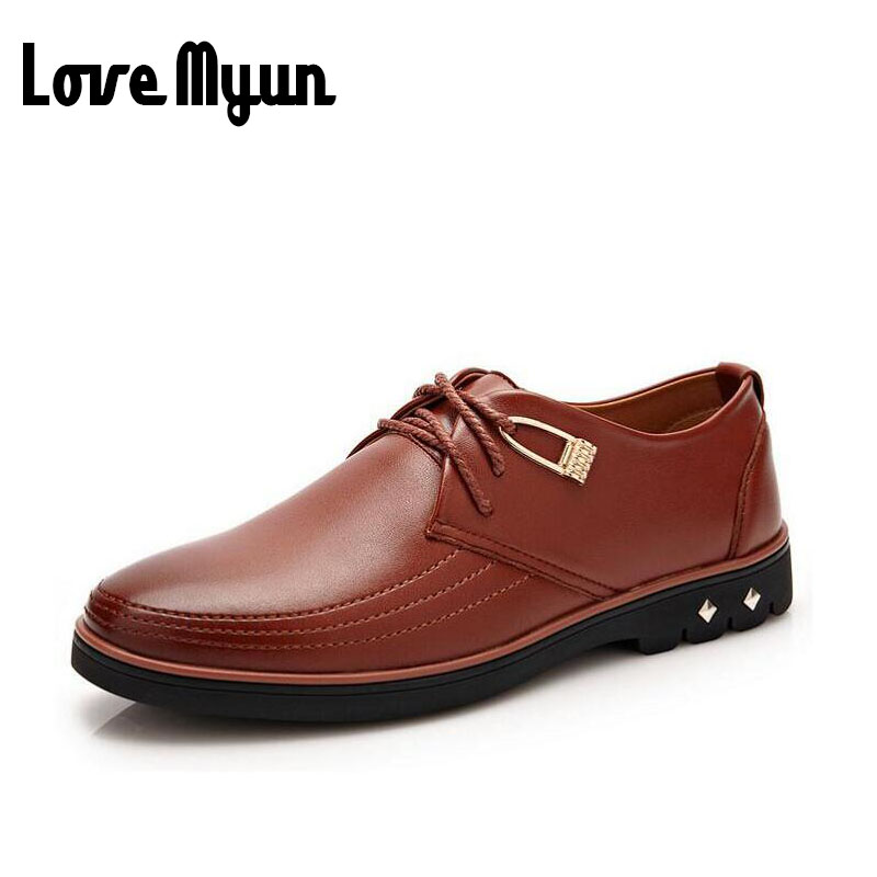 2017 brand new mens fashion men lace up Flat Shoes men's casual leather shoes genuine leather soft leather Driving shoes WA-14