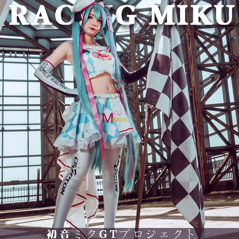 Anime Vocaloid 2019 Hatsune Miku Racing Cosplay Costume Clay Motorcycle Suits Lovely Lolita Dress Uniform Outfit For Women