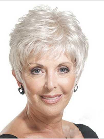 Short straight mother gray Hair Wigs fashion Heat