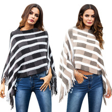 new trend winter autumn fashion cloak office lady sweater striped tassel pullover female  good quality