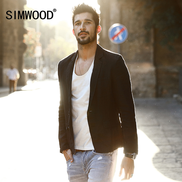 SIMWOOD 2018 New spring Fashion Jacket Casual Blazers Men Suits 100% Pure  Linen Slim Fit