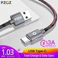PZOZ USB Tipo C Carga rápida usb c Tipo-c cable de datos teléfono Cargador para ipad pro 2018 samsung S9 S8+ note 9 8 pocophone F1 Xiaomi Mi 8 SE mix3 2s A2 Lite 6X cable para cargar teléfono usb tipo c cable adaptador