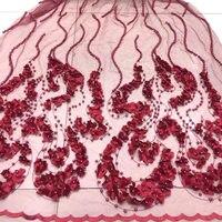 Последняя французский зеленый нигерийский кружевной ткани Перл качество 3D цветы Африканский марлевой ткани свадебные