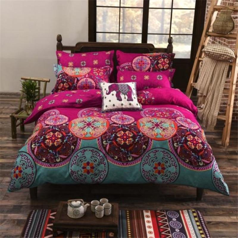 UNIKEA National Style Recto Prune Reversible Duvet Cover Bed Sheet with Pillow Sham Boho Mandala Bedding