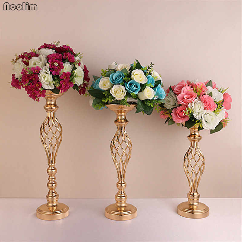1PC Metal Flowers Vases Wedding Props Candle Holder Gold Plated Iron Candlestick Wedding Home Decoration European Ornament