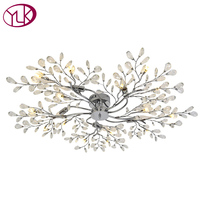 Silvery Brief Modern LED Crystal Ceiling Light 15 Lights Home Decor Lighting Fixture Dia110cm Large Lustre Cristal Room Lamps