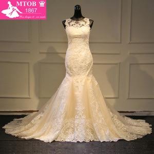 Image 1 - Elegante laço sereia vestido de casamento 2019 champanhe vestido de casamento ver através sem costas vestidos de casamento do vintage mtob1730