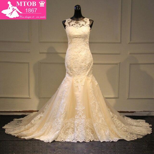 Elegante laço sereia vestido de casamento 2019 champanhe vestido de casamento ver através sem costas vestidos de casamento do vintage mtob1730