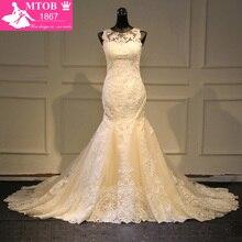 Modieuze Kant Mermaid Trouwjurk 2019 Champagne Vestido De Casamento See Through Backless Vintage Bruidsjurken MTOB1730