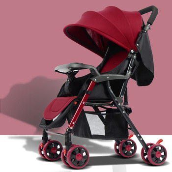 Free shippingPortable Baby Stroller Can Lie Flat Folding Lightweight Baby Stroller Trolley Steel Pipe Umbrella Pushc
