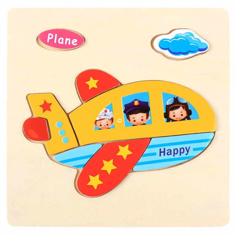 1 шт. розничная продажа Детские модные деревянные Мультяшные животные 3D головоломки обучающие игрушки для детей головоломки самолет бесплатная доставка