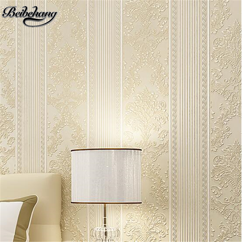 Beibehang Wallpaper 3D Flocking Wallpaper European Striped Wallpaper Bedroom Living Room TV Background Wallpaper Papier Peint