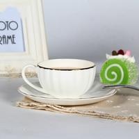 Qualità bone china Tazze e Piattini 200 ml Pure White figura della zucca grande bocca tazza di tè phnom penh Inghilterra afternnoon nero tazza di tè
