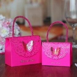 Saco de caixa de doces de chocolate pacote de presente de papel para o Aniversário de Casamento Party favor suprimentos Decoração DIY bolsa borboleta design Wh