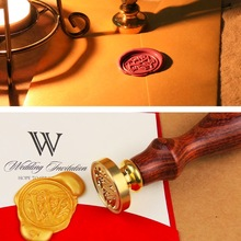 Copper Wax Badge Stamp Kit envelope seal A-Z Alphabet Initial Letter for letter gift card