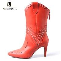 Prova Perfetto/черные, красные ботинки «Челси» из коровьей кожи с заклепками и заклепками, женские модные ботинки до середины икры с острым носком
