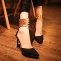 Nuevo 2016 mujeres del Estilo Fresco de otoño primavera de cuero ocasional señaló Los Zapatos de Boda nupcial zapatos de tacón alto sexy bombas ocasionales sandalias