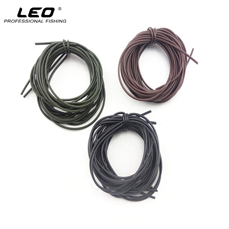5Pcs Carp Fishing Accessories Soft Silicone Fishing Hook Sleeves 1M for Reinforcement of Hook to Line Black Brown Green