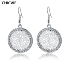 CHICVIE Vintage Crystal Flower Piercing Earrings With Stones For Women Big Silver Color Round Statement Earrings Love Jewelry(China)