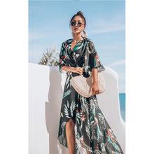Yfashion Women Loose Beach Sunscreen Long Chiffon Dress Cover Ups Medium Sleeve Stars Floral Print Belt Dresses Female